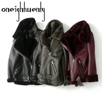 Faux Fur Winter Grote Kraag Vrouwen Lederen Jas Lamswol Dikker Fleece Jas Warm Black Uitloper Jacket Tops