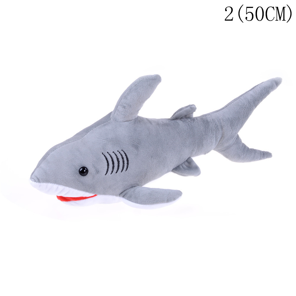 Soft 45cm Giant Shark Plush Shark Whale Stuffed Fish Ocean Animals Kawaii Doll Toys For Children Kids Cartoon Toy Baby's Gift mr froger carcharodon megalodon model giant tooth shark sphyrna aquatic creatures wild animals zoo modeling plastic sea lift toy