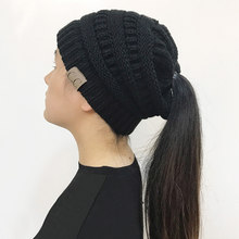 fc21b8486d1 LONSUNNOR 2018 New Trendy CC Warm Winter Hat For Women Ponytail Beanie  Stretch Cable Knit Messy Bun Hats Soft Ski Cap Wholesale
