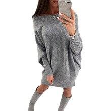 Для женщин зимние вязаные Платья-свитеры Новая мода рукав «летучая мышь» Повседневное женское платье пикантные женские Вязание Платья для женщин