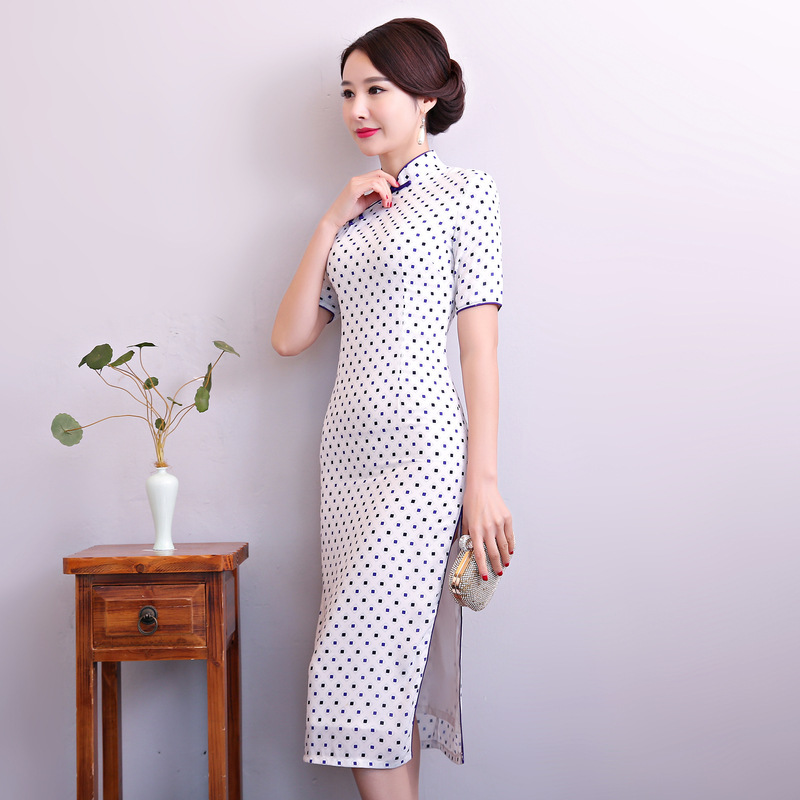 New Arrival White Women Traditional Chinese Style Dress Cotton Sexy Short Qipao Novelty Mandarin Collar Cheongsam