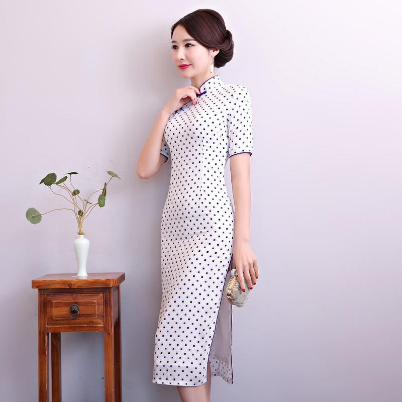 New Arrival White Women Traditional Chinese Style Dress Cotton Sexy Short Qipao Novelty Mandarin Collar Cheongsam