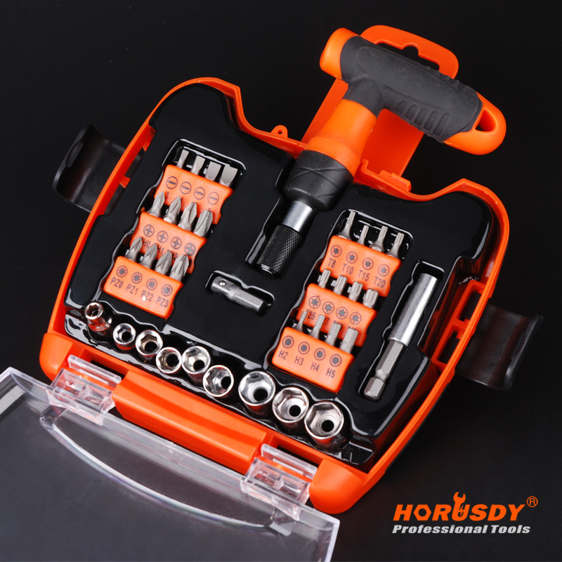 HORUSDY 36 in 1 Multi-purpose Tool Combination Ratchet T-Handle Screwdriver Bit Socket Set xkai 14pcs 6 19mm ratchet spanner combination wrench a set of keys ratchet skate tool ratchet handle chrome vanadium