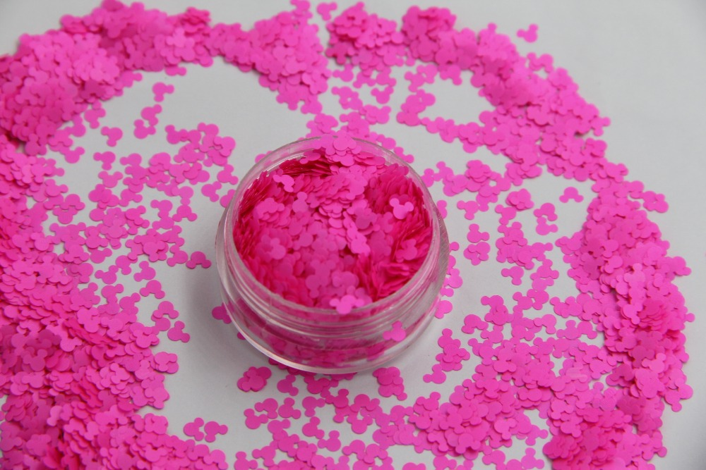 TCF510 Solvent resistant  Neon Rose-Carmine Color Mickey Mouse shape Spangles for Nail Polish and Other DIY decoration1Pack =50g