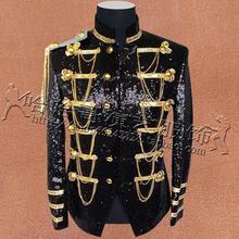 Black silver glitter vermelho Casacos jaqueta dos homens Coreano Magro Dos Homens ternos Moda nightclub cantor trajes de lantejoulas de alta densidade