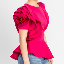 2018 Women Fashion Summer O-Neck Ruffles Sleeve Asymmetric Hem Slim Tops Blouse