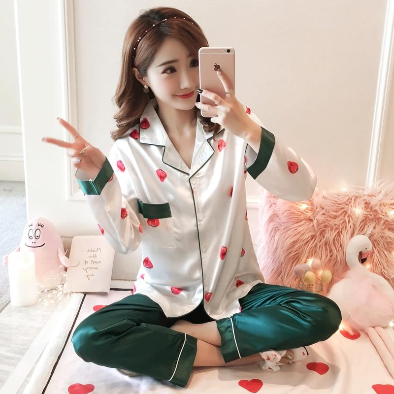 Women Nightwear Autumn Winter 2018 New Women Pyjamas Silk Long Tops   Set   Female   Pajamas     Set   NightSuit Sleepwear   Sets   Long Pant