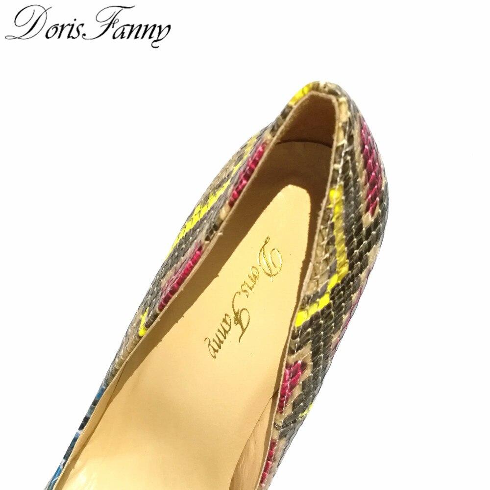 DorisFanny/африканские женские туфли со змеиным принтом и сумочка в комплекте; туфли лодочки на высоком каблуке 12 см - 3