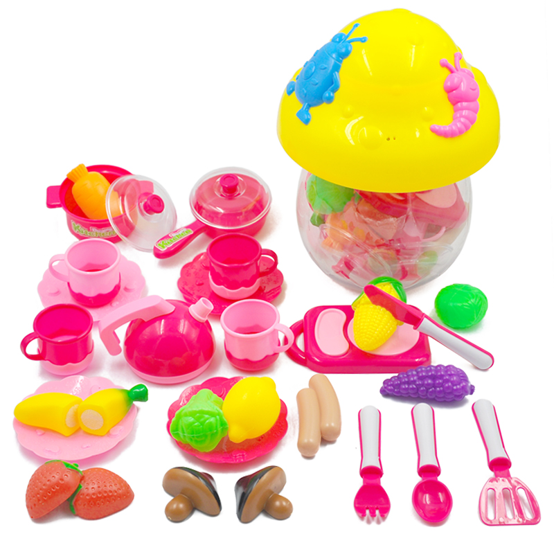 Kitchen Toys Set For Kids 28pcs/set Plastic Pretend Food Set Mini Vegetable Fruit Play Cutting Gift Children Educational Toys