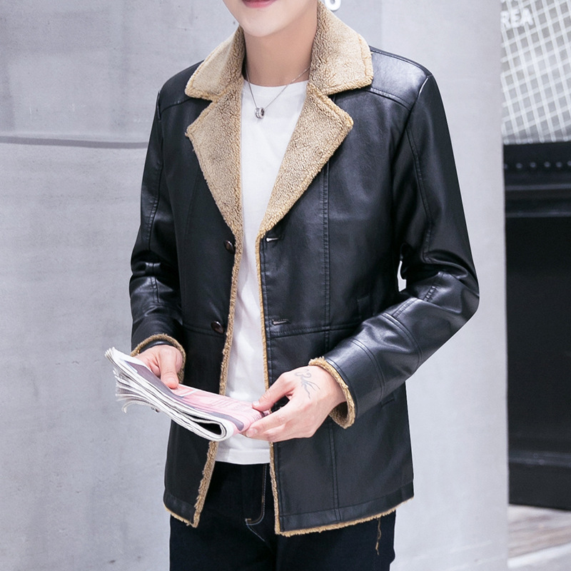 Free Shipping 2017 Exports Russian Winter Thick Leather Garment Business Casual Flocking Menshigh Quality Leather Jacket Men