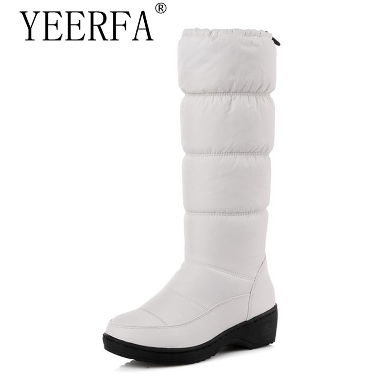 NEW 2018 fashion warm knee high snow boots women round toe soft leather warm down winter thick fur ladies winter shoes 2016 new arrive keep warm high heel snow boots fashion thick fur platform knee high winter boots for women shoes