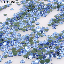 ZOTOONE Deep Blue Hot Fix Resin Flatback Crystal Rhinestone Strass Decoration Nail Rhinestones For Clothes Dress Heat Transfers(China)