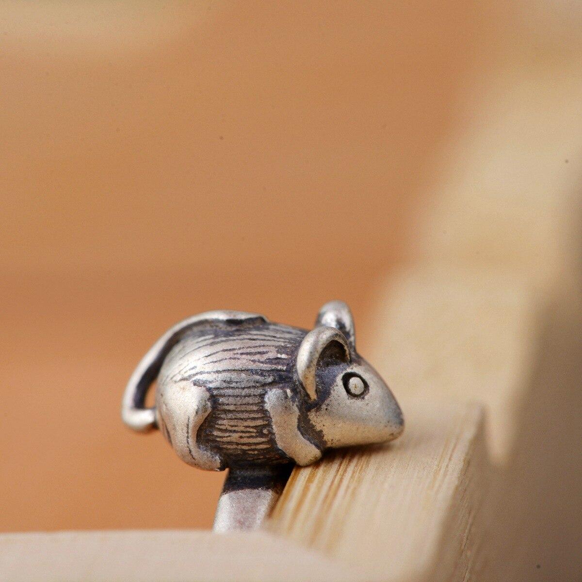 S925 argent pur souris ouverture anneau femme argent main délicate agir le rôle de style restauration des manières anciennes