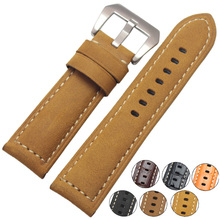 Handmade Retro Genuine Leather Watchbands For Panerai 22mm 24mm Men Watch Band Strap Metal Buckle Accessories Wrist Band все цены