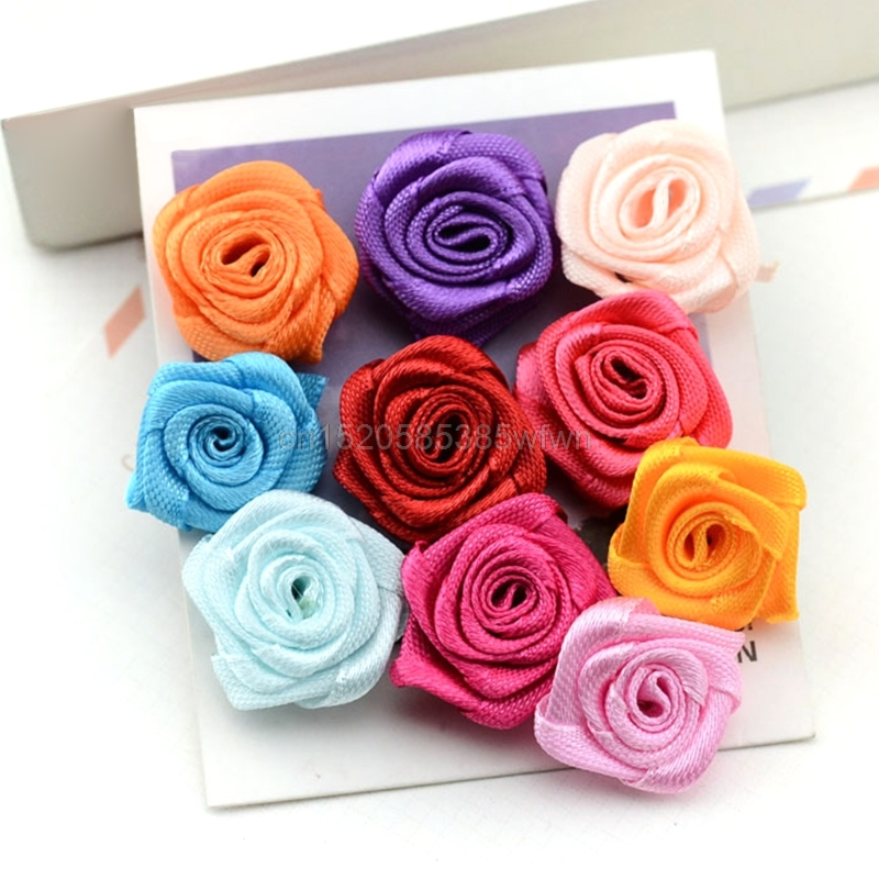 100pcs Handmade Satin Ribbon Rose Flower Bow Appliques Wedding Decor Appliques Sewing DIY Accessories Color Random delivery ...