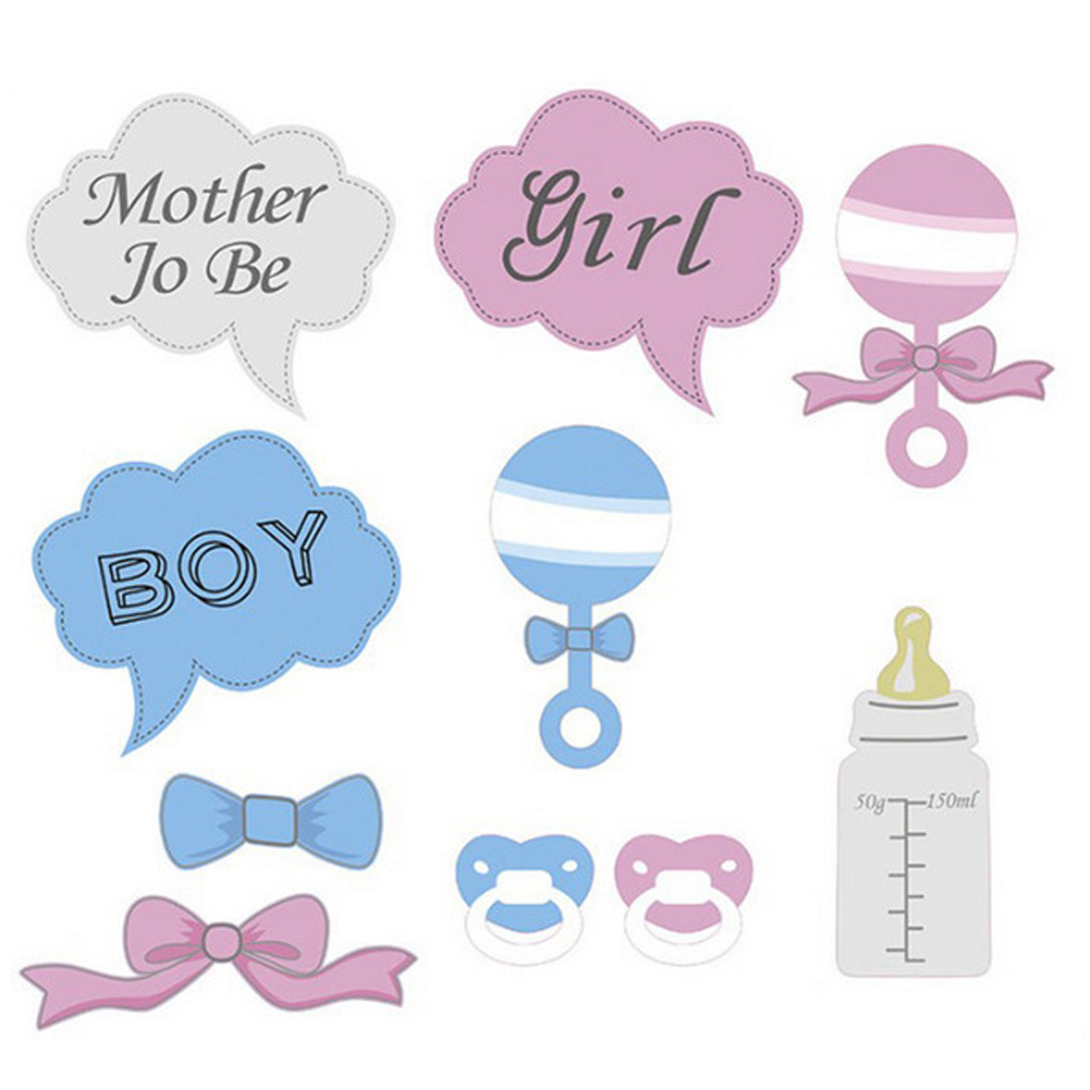 10pcs/lot Party Gifts Photo Booth Props DIY Bottle Baby Shower Boy ...