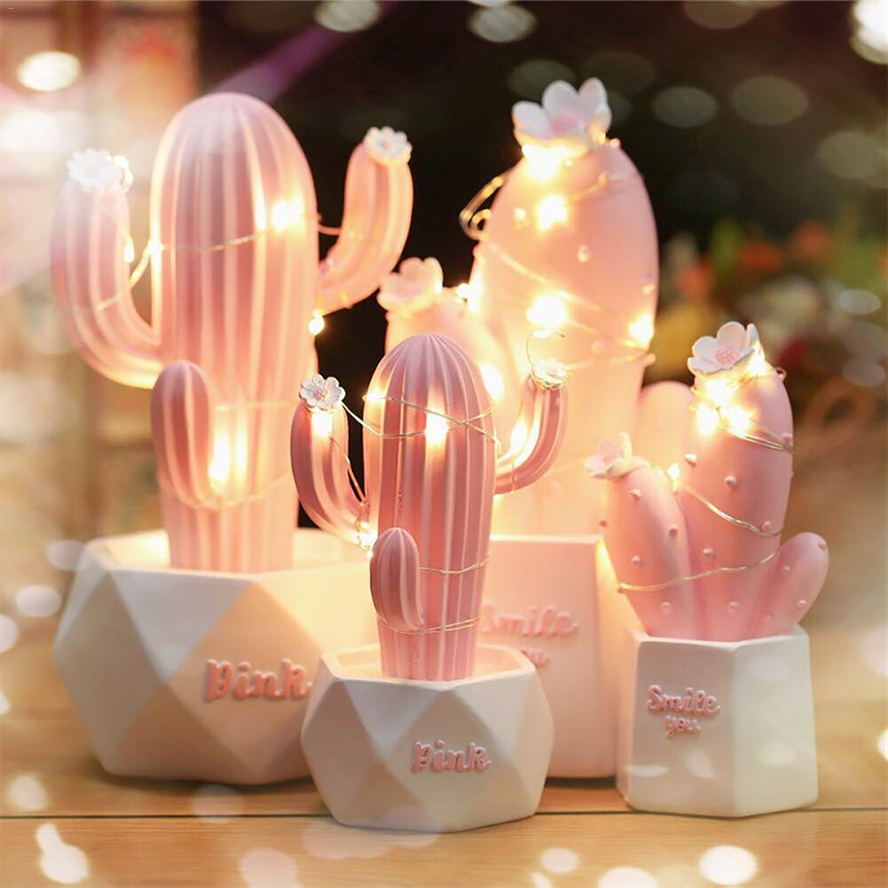 Ins Cactus LED Table Lamp Dream Star Lamp Small Night Light Bedroom Decoration Children's Gift Home Decor & Accessories Lamps Lightings cb5feb1b7314637725a2e7: Green A|Green B|Pink A|Pink B