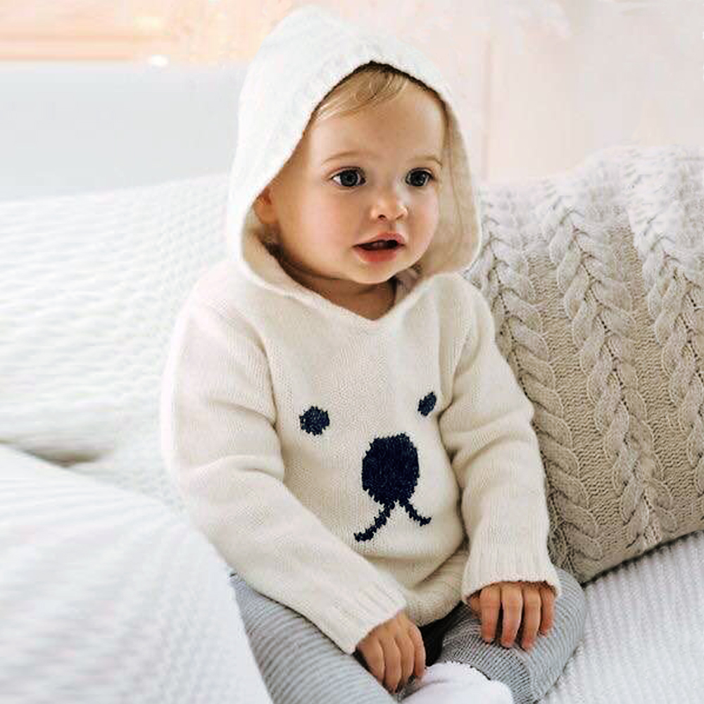 Baby Sweaters For Boys Cartoon Pattern Knitted Newborn Bebe Girls Bunny Jumpers White Outerwear Infant Knitwear Tops 0-2T Autumn