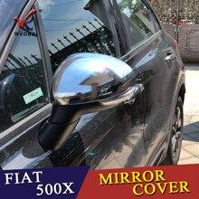 السيارات غطاء السيارات التصميم لشركة فيات 500X2014 2015 2016 2017 2018 2019 ABS كروم الجانب الجناح الحاجز الباب الخلفي مرآة غطاء الكسوة