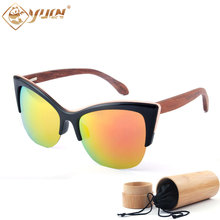 New Fashion Wood Polarized Sunglasses Women Brand Designer Reflective REVO Mirror Sun Glasses Handmade Bamboo Wooden Glasses
