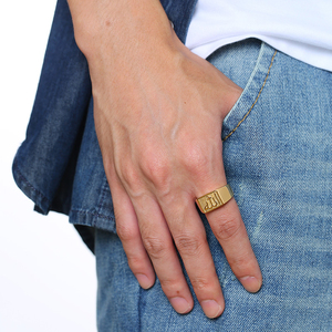 Image 4 - Bague Signet Allah islamique pour hommes, en acier inoxydable, bijou de mode carrée en couleur or Shahada arabe