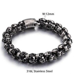 Image 2 - Kalen novo punk escovado crânio charme pulseiras para homens de aço inoxidável gótico fosco preto esqueleto pulseira masculino pub jóias 2017