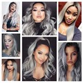 Ombre Brazilian Virgin Hair Straight Ombre Human Hair Extensions Red Queen Hair Products 3Bundles Grey straight brazilian hair