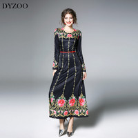 DYZOO 2018 New Fashion Spring Vintage Women Dress Floral Embroidery Black Slim Bodycon European Dresses Thin