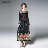 DYZOO 2018 New Fashion Spring Vintage Women Dress Floral Embroidery Black Slim Bodycon European Dresses Thin