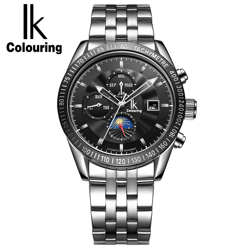IK Colouring 2017 New Automatic Watches Men Luxury Wristwatch Stainless Steel Sports Mechanical Watch Male Clock Montre Homme men gold watches automatic mechanical watch male luminous wristwatch stainless steel band luxury brand sports design watches