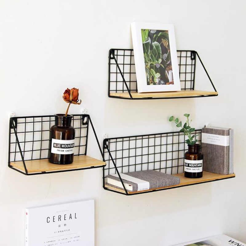 Baffect Wall Shelf Rack Iron Wooden Shelf For Kitchen Bedroom Kid Room Home  Decorative Wall Shelves Wire DIY Wall Storage
