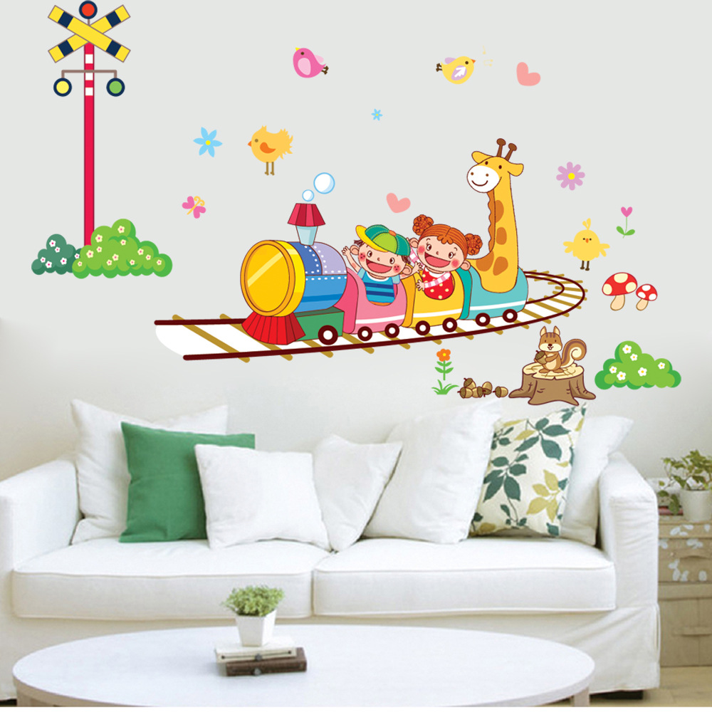 764 - Y Free Shipping Animal Circus Train Children DIY Removable Wall Stickers Parlor Kids Bedroom Home House Decoration