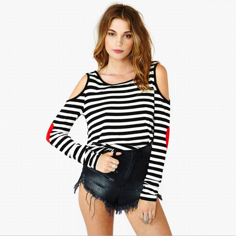 Brand SMSS Fashion 2016 T Shirt Women Summer Style Striped Loose Long Sleeve T Shirt Off Shoulder Casual lady clothing
