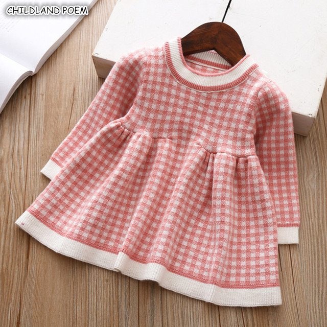 Baby Girl Dress Autumn Winter Knitted Baby Dress Plaid Long Sleeve Christmas Birthday Toddler Girls Dress Cotton Baby Clothes