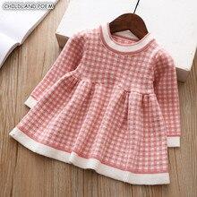 Baby Girl Dress jesień zima z dzianiny sukienka dla dzieci kratę z długim rękawem boże narodzenie urodziny maluch dziewczyny sukienka bawełniane ubrania dla dzieci