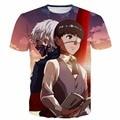 Anime Tokyo Ghoul t shirts White Hair Kaneki Print tshirts Men Women Summer Casual tee shirts Hipster 3d t shirt Harajuku tops