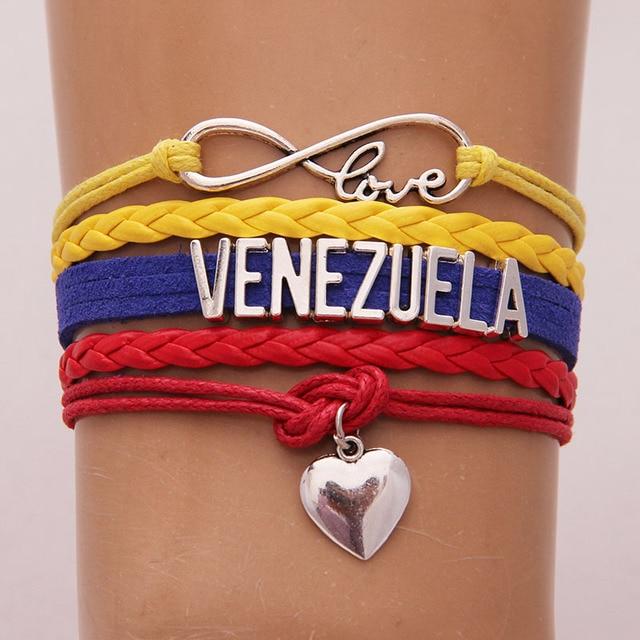 2b5fbca7aaa1 Infinity Love Venezuela pulsera corazón encanto WRAP cuerda pulseras y  brazaletes para las mujeres hombres país