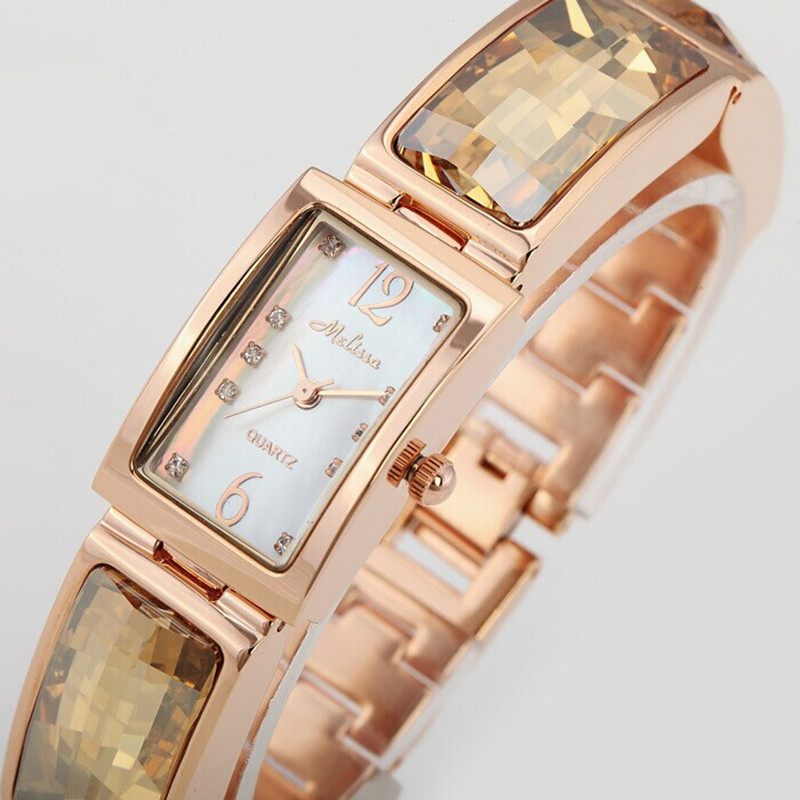 Melissa Women Brand Jewelry Watches Fashion Rectangle Rhinestones Bracelet Watch Quartz Natural Shell Wrist watch Montre Femme brand women bracelet watches fashion rhinestones square dial ladies quartz watch montre femme 2017