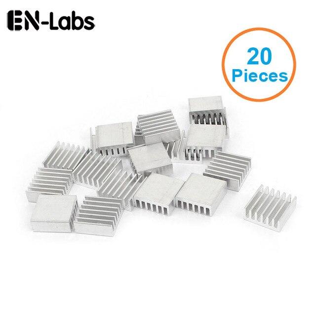 En-Labs nuevo 20 piezas plata 14x14x6mm disipador de calor de aluminio radiador disipador de calor para CPU, GPU, Chipset electrónico disipación de calor