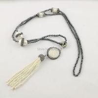 3 Stränge Pflastern Rhinestone Natural Perlenkette mit 3mm Mini Schwarz Hämatit Perlen und Quaste Anhänger Charme Halskette