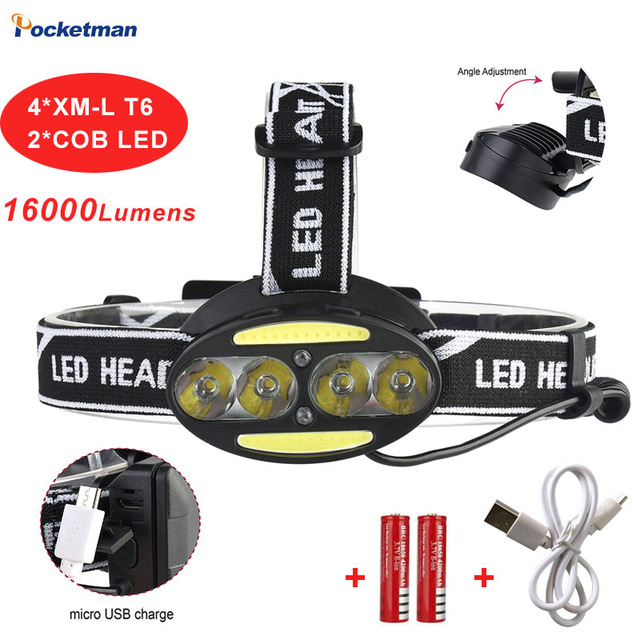 Headlight 30000 Lumen headlamp 4*CREE XM-L T6 +2*COB+2*Red LED Head Lamp Flashlight Torch Lanterna with batteries charger fenix hp25r 1000 lumen headlamp rechargeable led flashlight
