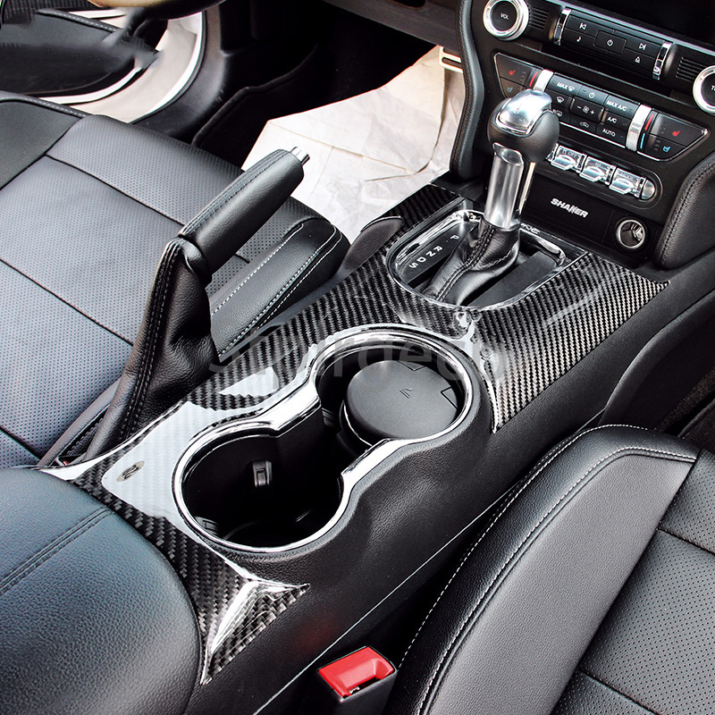 100% Real Carbon Fiber Control Gear Shift Panel Decorative Cover Car Styling Sticker For Ford Mustang 2015 2016 2017 2018 car styling mat interior accessories case for mitsubishi car styling anti slip mat