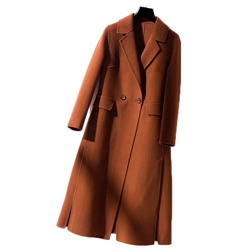 Women's Winter Wool Jackets 2018 Double sided Cashmere Coats Slim Long Overcoat Casual Women's clothing 100% Woolen Coat Women