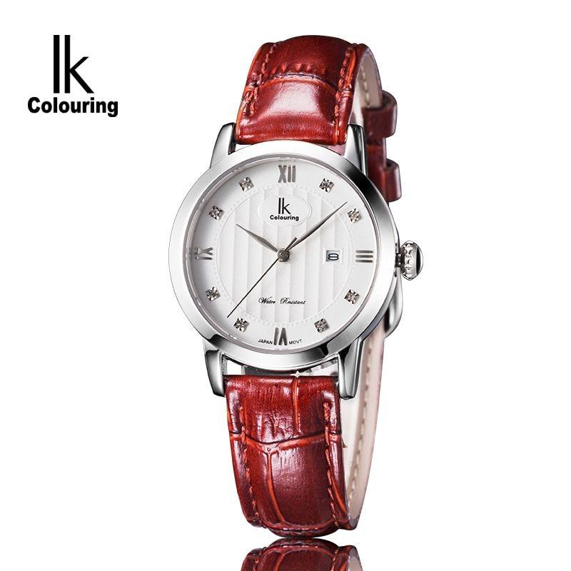 Luxury IK Coloring Luxury Women's Hardlex Crystal Day Quartz Watches Waterproof Wristwatch Orignial Box Free Ship coloring of trees