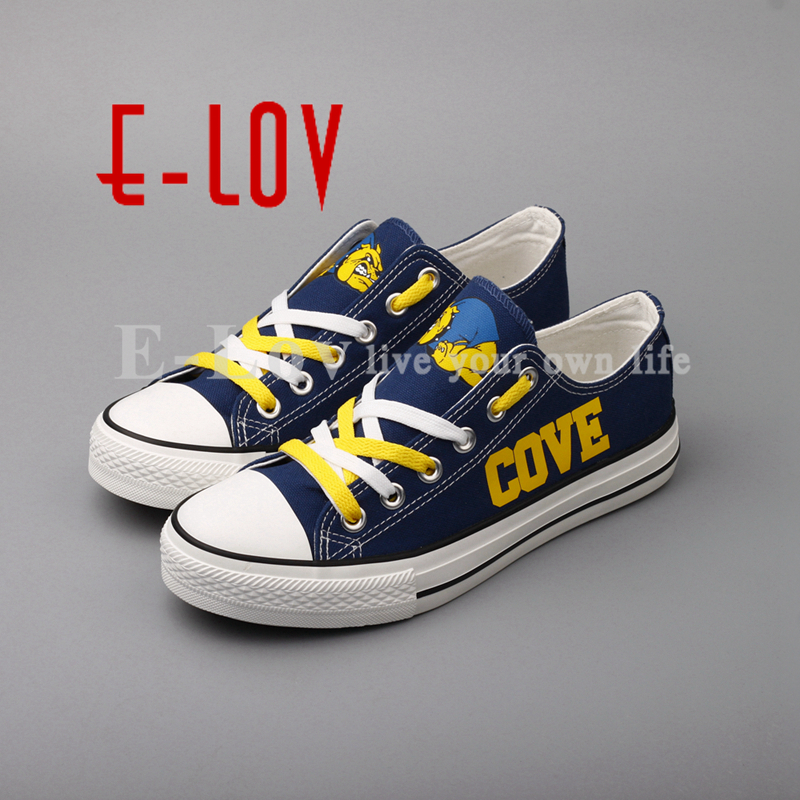 2018 Cove Bulldawgs College Print Team Canvas Shoes Yellow Lace Blue Shoes Graffiti Flat Shoes Woman Girls Big Size Gift рубашка insight college perve eshay blue
