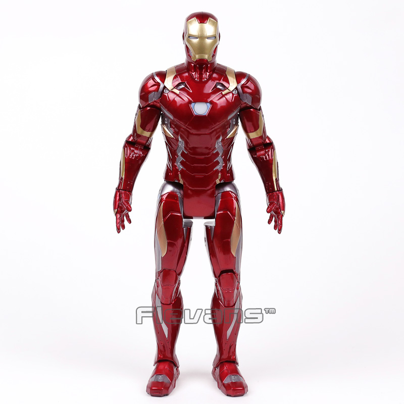 Iron Man MARK XLVI MK46 PVC Action Figure Collectible Model Toy with LED Light 35cm (in OPP Bag) marvel iron man mark 43 pvc action figure collectible model toy 7 18cm kt027