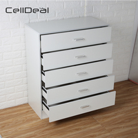 Chest of Drawers White 5 Drawer Metal Handles Runners Bedroom Furniture Desk Drawer Organizer Storage Cabinet Drawer Divider