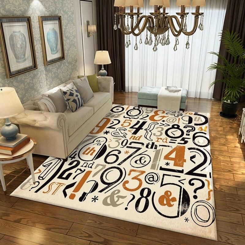 Nombre motif grands tapis et tapis pour salon chambre décor Tapete canapé Table basse étude chevet antidérapant tapis de sol