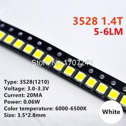 1000 шт./лот 3528 Белый светодиодный лампы шарик 1210 Белый 1,4 т SMD светодиод 3528 белый 5-6LM