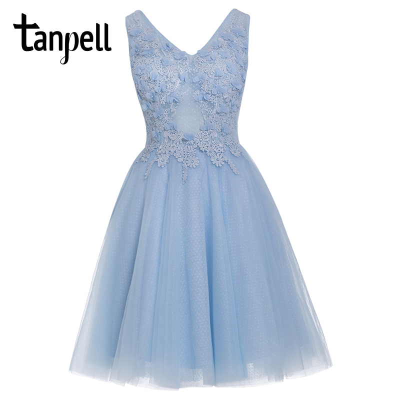 Tanpell Appliques Homecoming Dress Sky Blue V Neck Sleeveless Knee Length Dress Women Beaded Cocktail Short Homecoming Ball Gown